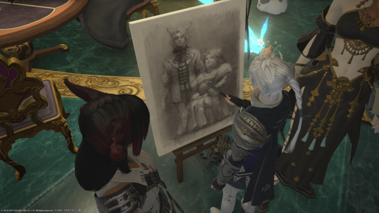 Alphinaud sketching a portrait of two miqo'te, the Chais: Chai-Nuzz standing next to Dulia-Chai sitting.