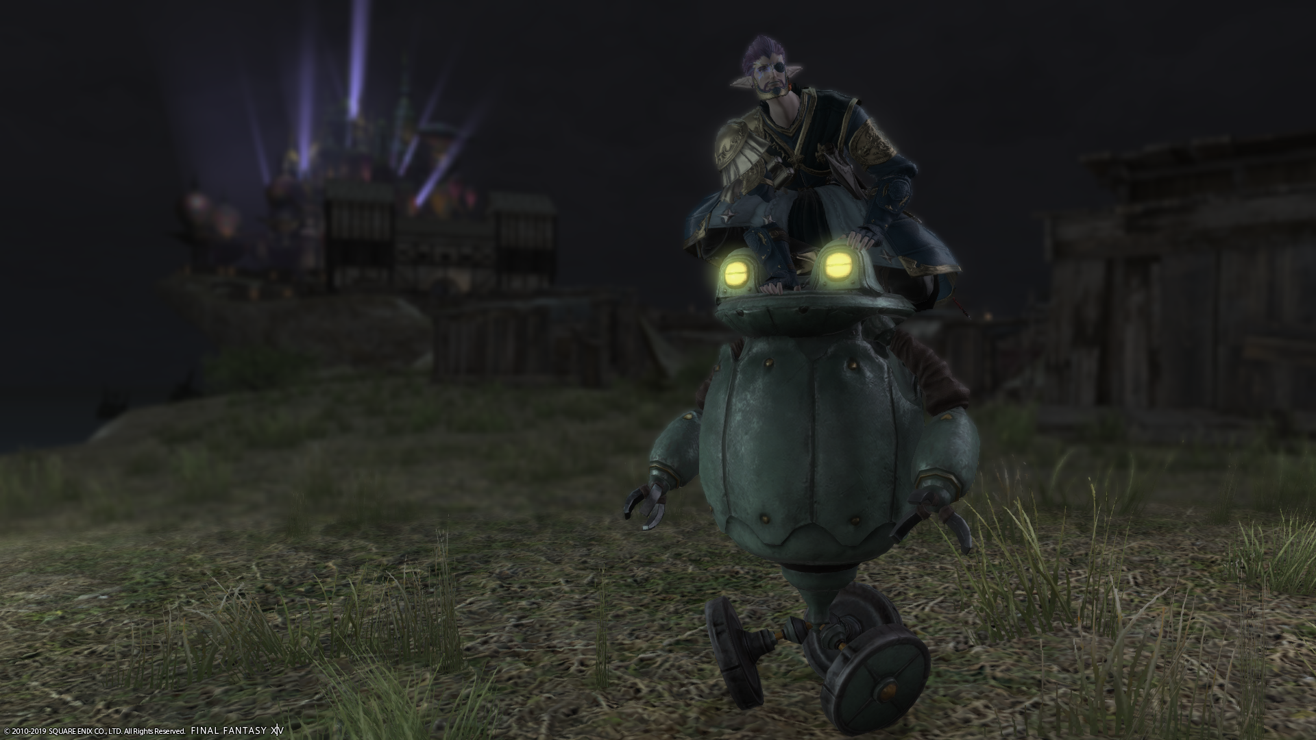 Riding the frogbot mount at night outside Eulmore